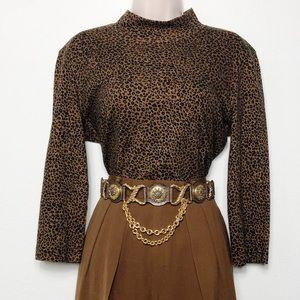 [Jones NY] Leopard Mock Neck Long Sleeve Top